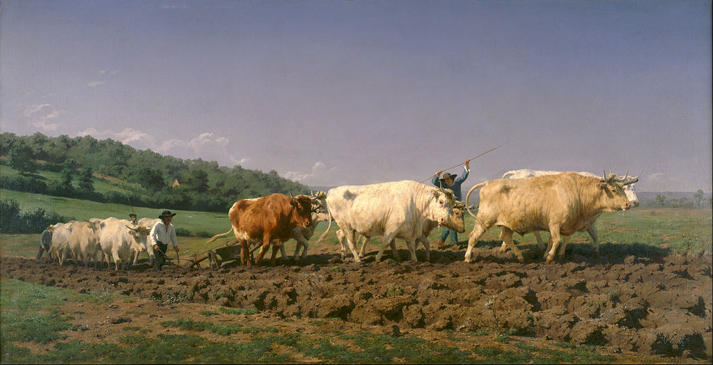 Painting of a plough team at work